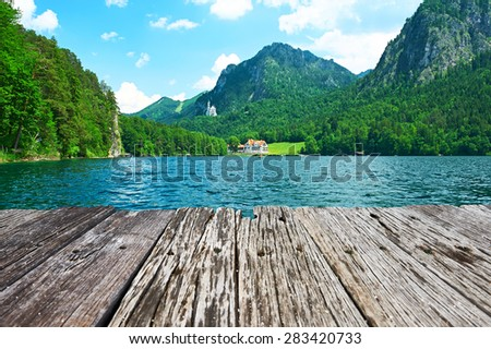 Alpsee lake at Hohenschwangau near Munich in Bavaria, Germany - stock photo