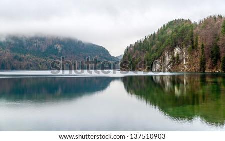 Alpsee lake in Hohenschwangau - Bavaria, Germany - stock photo