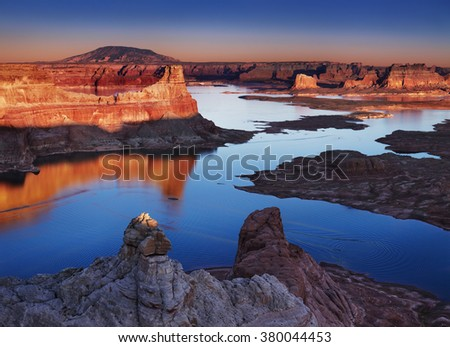 Alstrom Point at sunset, Lake Powell, Utah, USA - stock photo