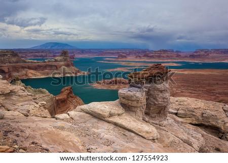 Alstrom Point Hoodoos, Lake Powell, Utah - stock photo