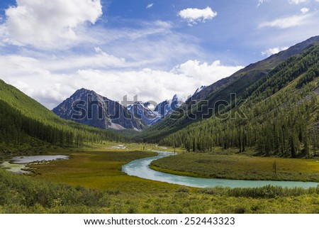Altai. Valley of the mountain river Shavla - stock photo