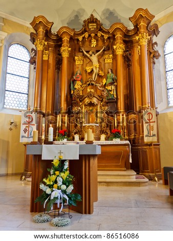 Altar and High Altar (Hochaltar) in a Baroque Church in Germany. - stock photo