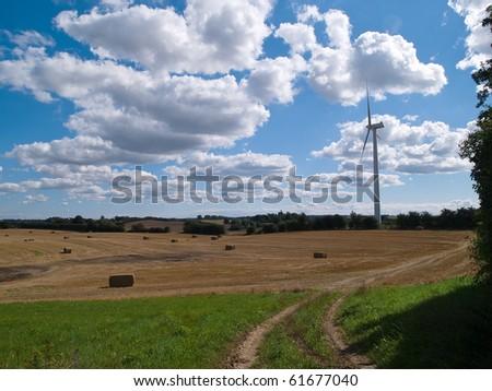 Alternative efficient energy modern turbine wind electricity mill - stock photo