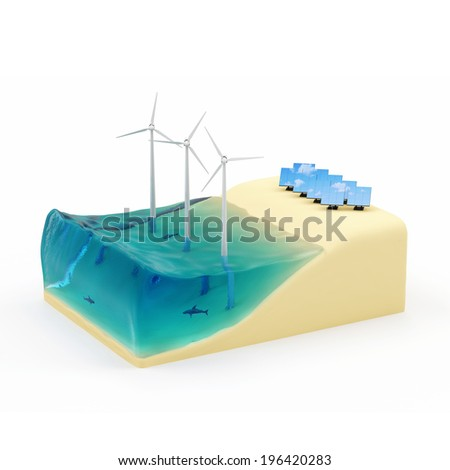 Alternative Energy Concept. Piece of Miniature Beach with Ocean, Windmills and Solar Panels isolated on white background - stock photo