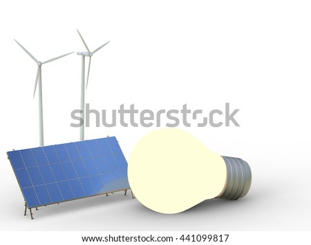 alternative energy concept with 3d rendering wind turbines, solar panels and light bulb - stock photo