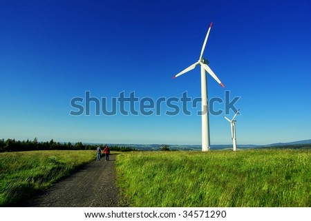 Alternative energy - wind farm in Czech Republic - stock photo