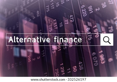 Alternative finance written in search bar with the financial data visible in the background. Multiple exposure photo. - stock photo