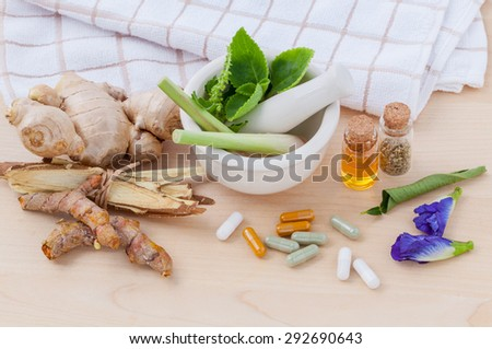 Alternative health care fresh herbal  ,dry and herbal capsule with mortar on wooden background. - stock photo