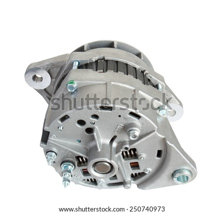alternator auto isolated on white background, back view - stock photo
