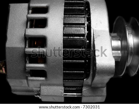 Alternator generates power for car electrical system - stock photo