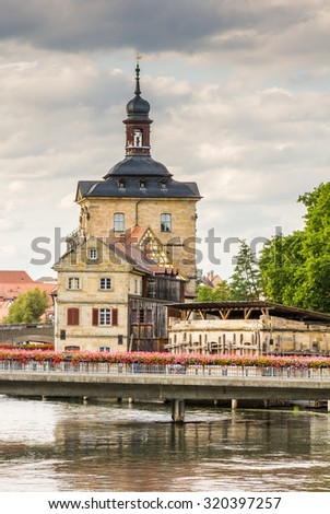 Altes Rathaus in Bamberg. The historic town hall was built in the 14th century. - stock photo