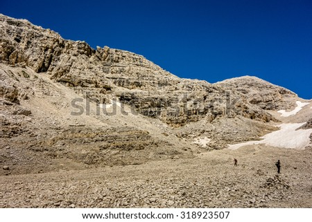 Altipiano delle Pale di San Martino in the Dolomites mountains of northern Italy - stock photo