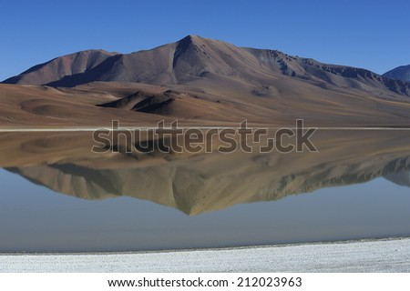 Altiplano high plateau and volcanic lagoon, Atacama Desert, Chile - stock photo