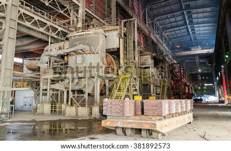 Aluminium and steel molds and cats on a platform in a smelter, foundry factory AURUBIS, Pirdop, Bulgaria, November 05, 2015 - stock photo