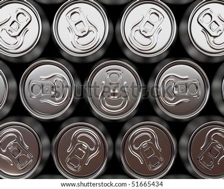 aluminium beer can background - stock photo