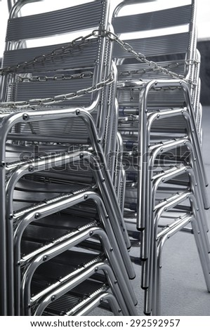 aluminium chairs - stock photo