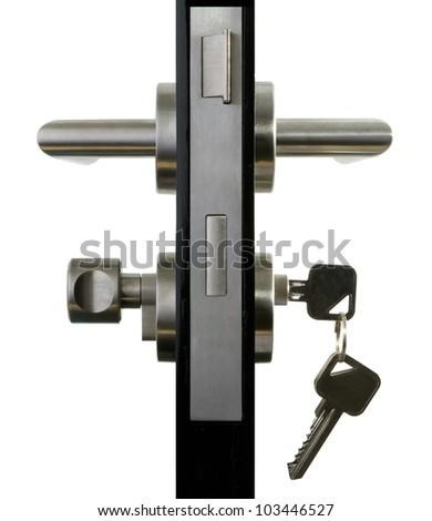 Aluminium door knob on the black door white background. - stock photo