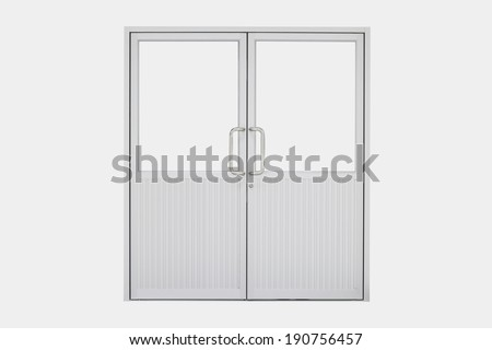 Aluminium door with isolated background. - stock photo