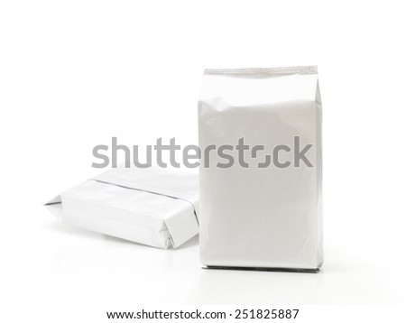 Aluminium foil package isolated on white background - stock photo