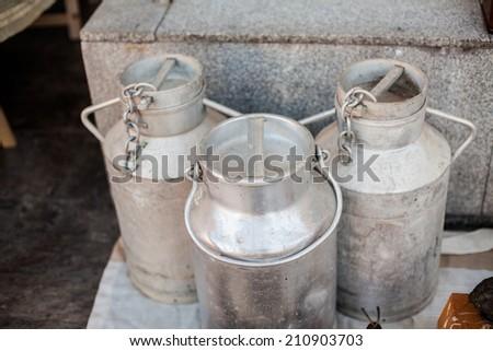 aluminium milk can - stock photo