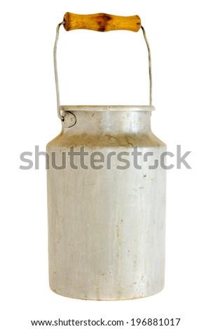 aluminium milk can on white background - stock photo