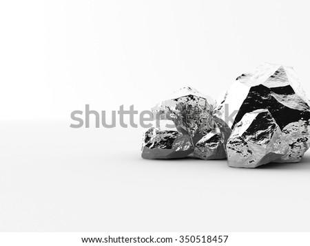 aluminium nuggets on a white background - stock photo