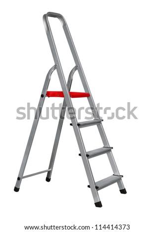 Aluminium stairway ladder isolated on white - stock photo