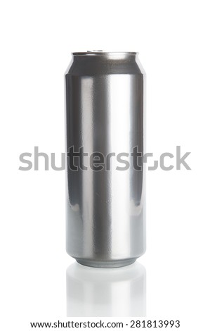 Aluminum beer can isolated on white background - stock photo