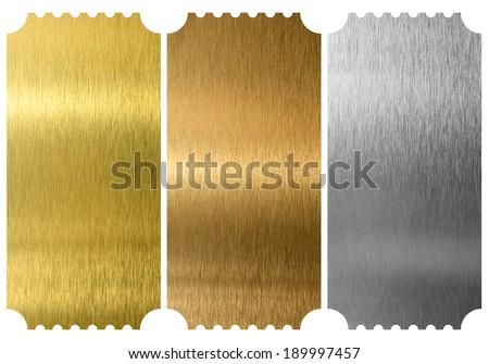 Aluminum, bronze and brass tickets isolated - stock photo