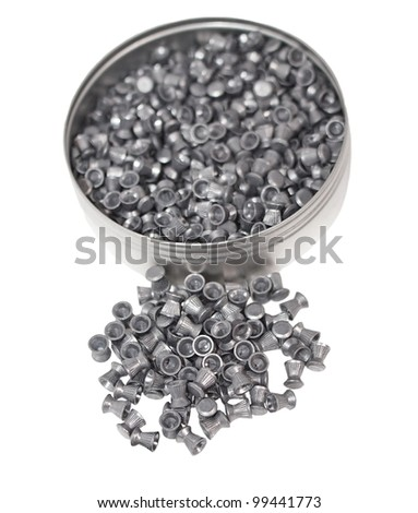Aluminum can of lead pellets isolated on white, Diabolo pellets - stock photo