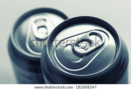 Aluminum cans closeup picture - stock photo
