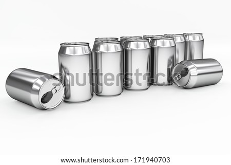 aluminum cans isolated on white - stock photo