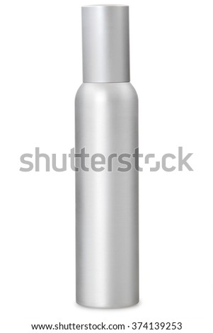 Aluminum container of spray bottle isolated over white background. - stock photo