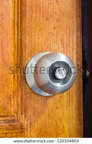 Aluminum door knob. - stock photo