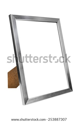 Aluminum empty photo frame isolated on white background with clipping path - stock photo