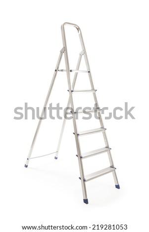 Aluminum ladder isolated over white background - stock photo