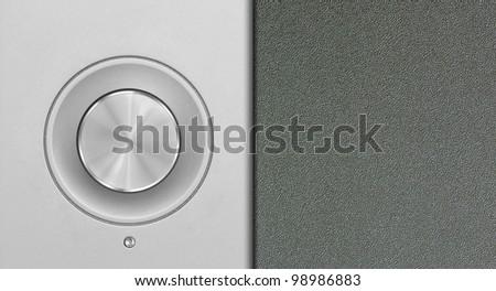 aluminum or silver volume knob button - stock photo