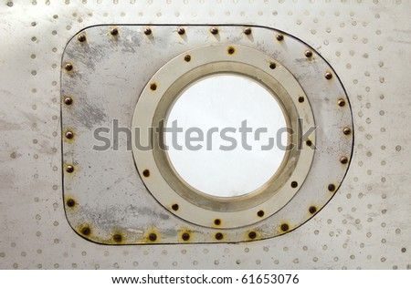 aluminum plate with rivet and screw - stock photo