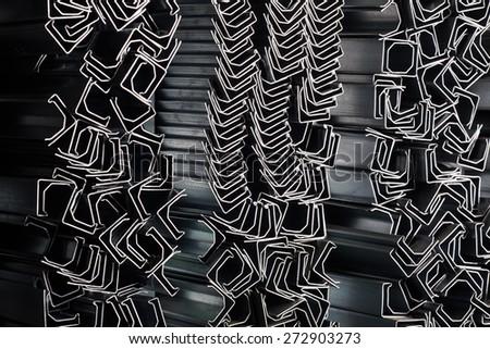 Aluminum profiles. Industrial background - stock photo