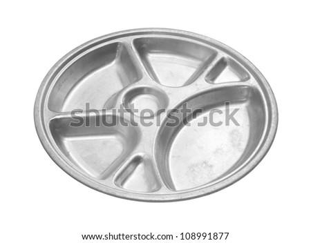 Aluminum school tray isolated on white background - stock photo
