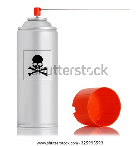 aluminum spray insecticide can isolated on white background - stock photo