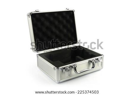 Aluminum suitcase - stock photo