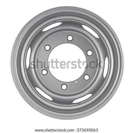 Aluminum wheel rim on the white background - stock photo