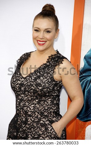 Alyssa Milano at the Los Angeles premiere of 'Get Hard' held at the TCL Chinese Theater IMAX in Hollywood, USA on March 25, 2015.  - stock photo