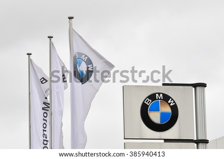 ALZEY,GERMANY-MARCH 03:BMV logo  on March 03,2013 in Alzey,Germany.Bayerische Motoren Werke AG is a German automobile, motorcycle and engine manufacturing company founded in 1916. - stock photo
