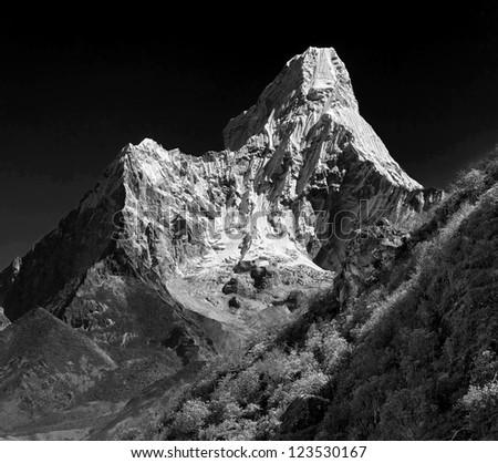 Ama Dablam (6814 m), Nepal, Himalayas (black and white) - stock photo