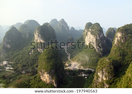 Amaizing Yangshuo valley in China from a hot air balloon - stock photo