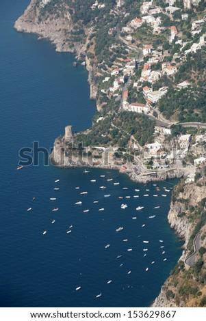 amalfi coast, air view, naples, italy - stock photo
