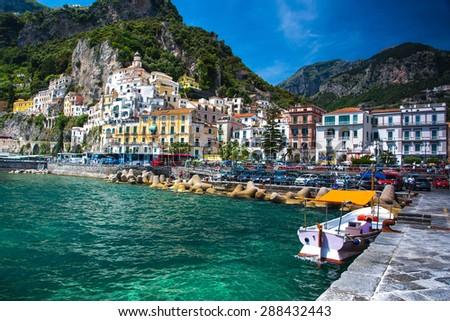 Amalfi coast. Positano, Italy coast resort - stock photo