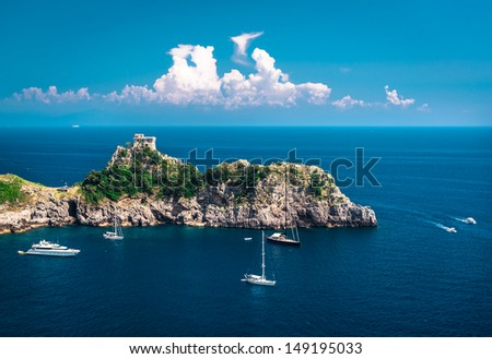 Amalfi Coast. Stunning landscape with hill and Mediterranean sea. Italy - stock photo